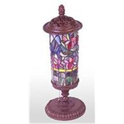 GLASS FLORAL TABLE LAMP / NEW #2379962