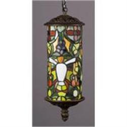 ART DECO HANGING LAMP MULTICOLOR GLASS DESIGN /#2379965