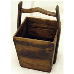 Antique Square Wooden Well Bucket #2379978