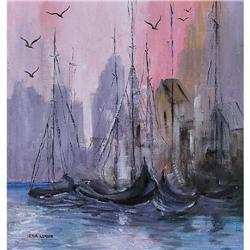 ORIG OIL PAINTING SAILBOATS IN HARBOR #2379982