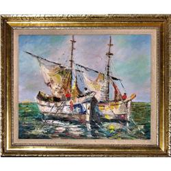 ORIG OIL PAINTING SEASCAPE W SAILBOATS #2379985