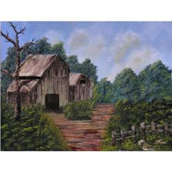 ORIG OIL PAINTING COUNTRY HOUSE AMONG TREES #2379986