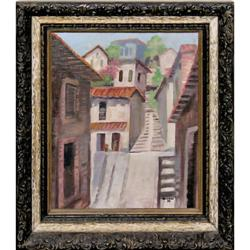 ORIG PAINTING HILLSIDE VILLAGE STREETSCAPE IN #2379987