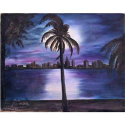 ORIG OIL PAINTING NIGHTSCAPE IN BLUE WITH PALM #2379988