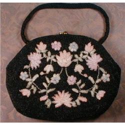 Black FLORAL Purse BEADED Evening BAG -Vintage-#2380054