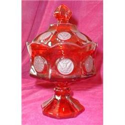 FOSTORIA Coin RUBY Pedestal COVERED Candy DISH #2380055