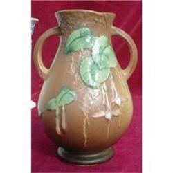 Roseville FUSCHIA Vase 895-7 Brown 2-Handles- #2380060