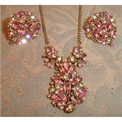 HOLLYCRAFT Necklace EARRINGS Set 1950 -VINTAGE-#2380062