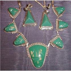 MEXICAN Sterling JADEITE  -Necklace & Earrings-#2380071