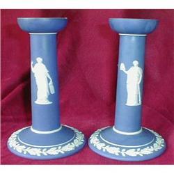 WEDGWOOD JasperWARE CANDLEsticks -Dark BLUE - #2380076
