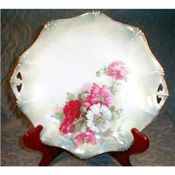 RS Prussia ANEMONES Plate HANDLES - Antique #2380094