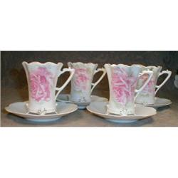 RS PRUSSIA Chocolate CUPS Saucers - SET of 4 #2380097