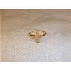 Estate 14K YG Yellow Gold Diamond Cross Ring #2380203