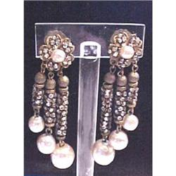 Rare dangle pearl & rhinestone Miriam Haskell #2380205