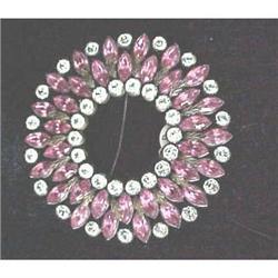 Vintage Czech  pink rhinestone sash pin #2380206