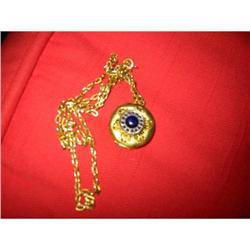 Vintage Filigree Blue Glass Golden Locket & #2380240