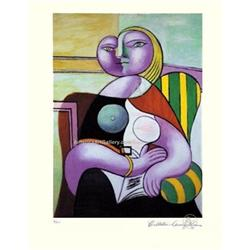 PICASSO CUBIST LADY SEATED HAND SIGNED w/COA #2380245