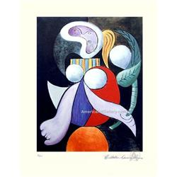 PICASSO CUBIST LADY WITH FLOWER HAND SIGNED #2380246