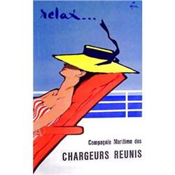 RARE RENE GRUAU OVERSIZE FINE ART RELAX PRINT #2380256