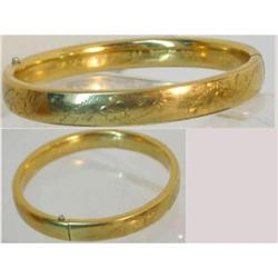 Art deco GOld fill Fancy hinged signed bracelet#2380259