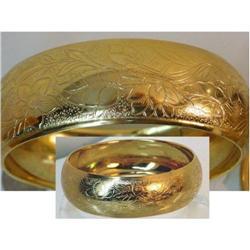 VERY WIDE fancy etched vintage  deco Bracelet #2380260