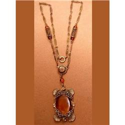 1900s CZECH Golden Topaz DECO drop necklace #2380269