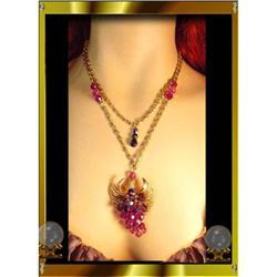 40s long Chandelier Fuschia crystal necklace ER#2380272