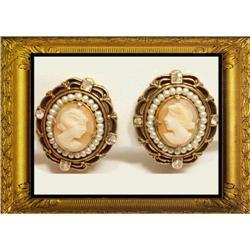 Vintage Seed pearl CAMEO Edwardian earrings #2380276