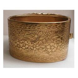 vintage Wide layered Nouveau hinged bracelet #2380280