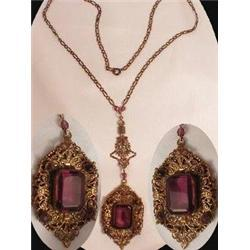 Gothic Victorian Purple jeweled Czech necklace #2380281