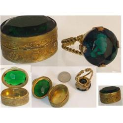 Vintage DECO Czech Snuff box & GLASS RING set #2380284