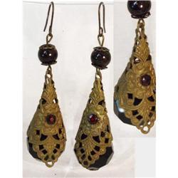UNUSUAL BEAUTIFUL Czech Jet  GARNET earrings #2380287