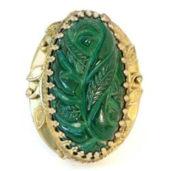 ANtique HUGE carved nouveau GLASS gothic ring #2380289