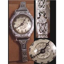 1920 ART DECO Filigree hinged 15 jewel watch & #2380291