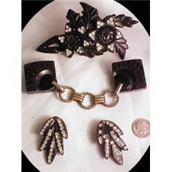 TREMENDOUS Black  brooch Earrings belt  #2380292