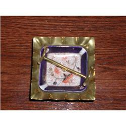 Majolica/Gaudy Dutch and Brass Pen Holder #2380333