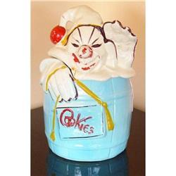 McCoy Clown in Barrel Cookie Jar ca 1950 #2380334