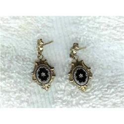 Earings. Victorian. Onyx. Circa 1900 #2380360