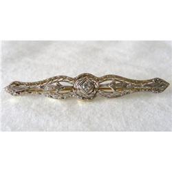 14k  and Diamond Bar Pin c1920 #2380380
