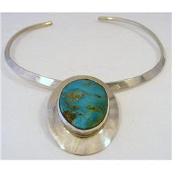 Collar .Sterling Signed. Turquoise Drop #2380385