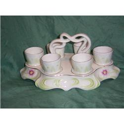 6  vintage egg cups in holder  #2380397