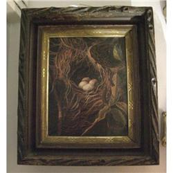 Vintage Oil Painting of Nest - signed Huguet #2380443