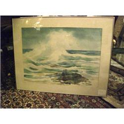 Original Watercolor Painting of a Wave - signed#2380444