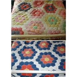 Large Double Sided  Hexagon Quilt needs repair #2380454