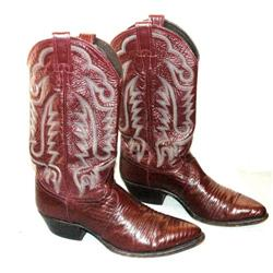 Justin  Maroon Fancy leather  Cowboy boots 9D #2380461