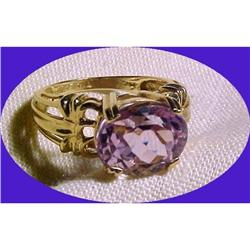 14K gold ring with large Amethyst Gemstone  sz5#2380462