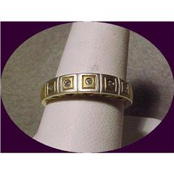 Modern 2 tone Gold Band Ring with 5 Diamonds  #2380464