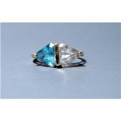 10K Yellow Gold Blue and Clear Topaz Ring  #2380465