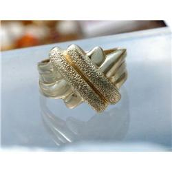 Solid 14K Gold Cris Cross Band Ring  #2380468