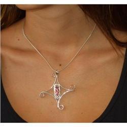 Silver pendant  Rose quartz baguette cut #2380483